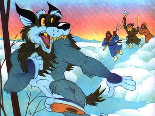 Видит Волк бегут к нему крестьяне с вилами и Рванулся изо всех сил, оторвал себе хвост