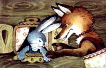 Лиса именинница и заяц
