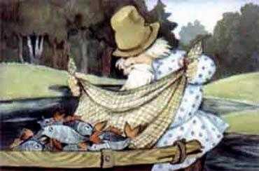 дед рыбачит