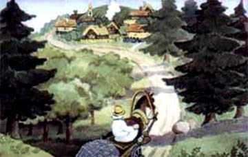 деревня на пригорке видна.
