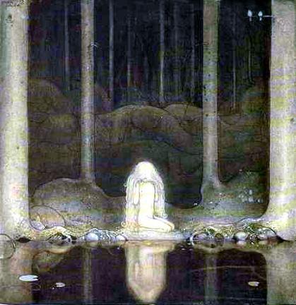 А Принцесса Былинка все еще сидит на кочке и вглядывается в глубь озера