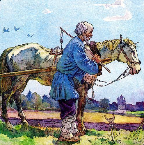 Старик рядом с лошадью говорит барину