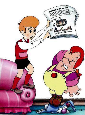 карлсон и малыш с газетой о летающем боченке