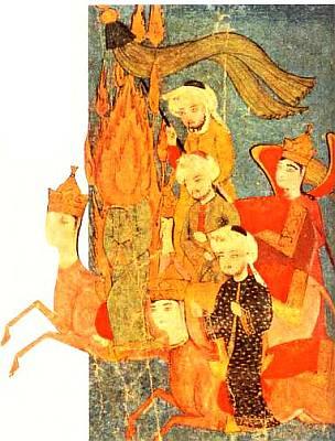 Пророк Мухаммед, которого художник изобразил с пылающим ликом, скачет на мифическом коне Бураке. За ним едут первые халифы Абу Бакр, Умар I и Усман.