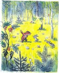 медвежонок зайцы лес поляна