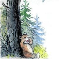 медвежонок под деревом