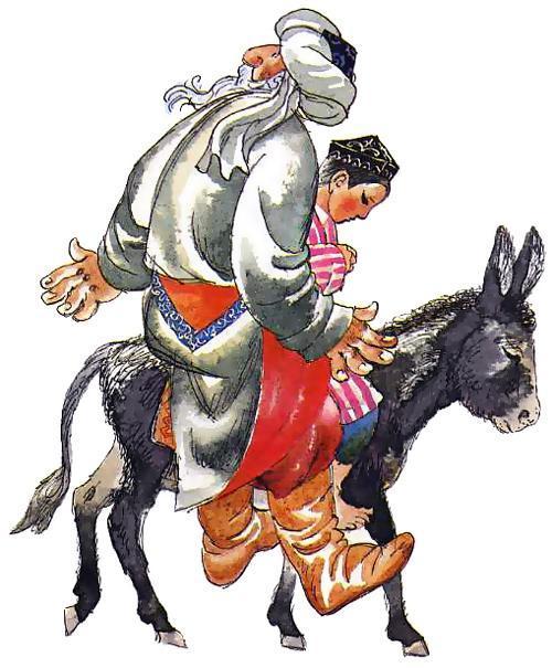 Мельник и мальчик едут на осле