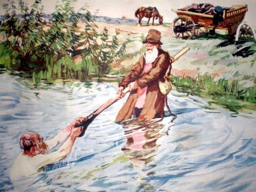 мужик мимо шёл, услыхал крик, кинулся и купца из воды вытащил