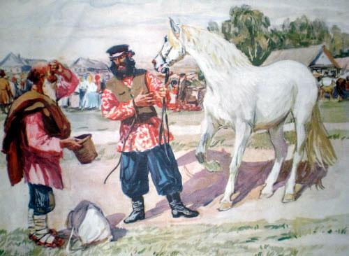 навстречу ему табунщик; целый табун лошадей гонит.