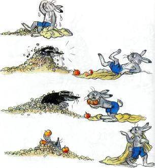 заяц раздает яблоки кроту угостил крот в норе