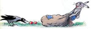 заяц тащит мешок яблок ворона за ним