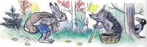 заяц встретил ежа с лукошком