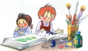 дети мальчик и девочка рисуют пишут клякса