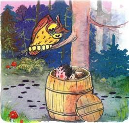 мальчик и девочка прячутся в бочке сова филин на дереве