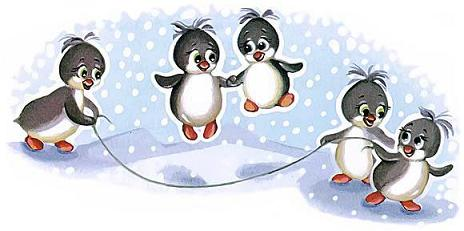 пингвины в антарктиде прыгают на скакалке