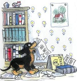 щенок, собака, нашкодил, хулиган, книги