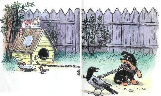 щенок, собака, ворона, во дворе, будка, забор