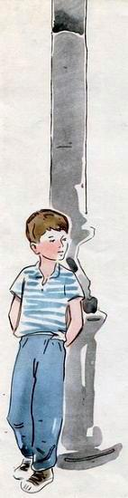 мальчик у столба