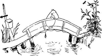 Муми-тролль на мостике над речкой