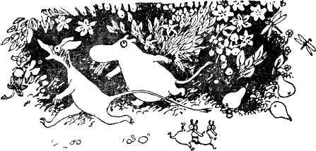 Муми-тролль и Снифф побежали прямо через заросли