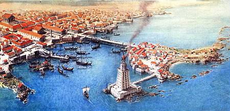 Такой была древняя Александрия. Знаменитый маяк находился на острове Фарос. соединенном с материком дамбой