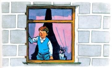 Котька Чижов наблюдает из окна