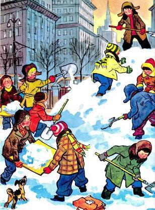 дети во дворе делают снежную горку