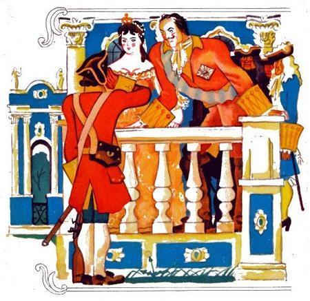 Петр Первый солдат и царица Елизавета