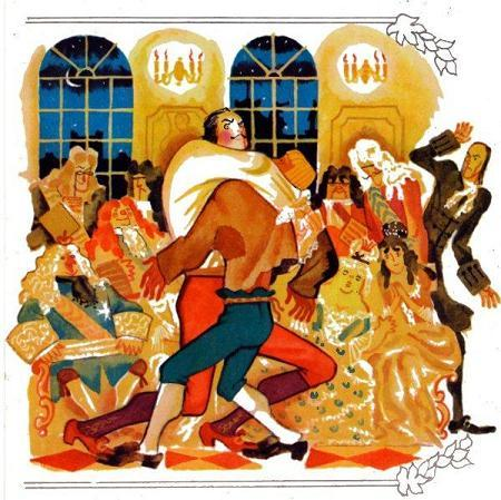Петр Первый борется с солдатом на балу