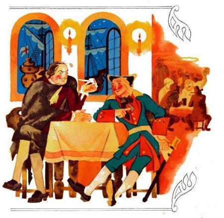 Петр Первый и солдат в трактире беседуют