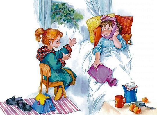 девочка навестила больную подружку