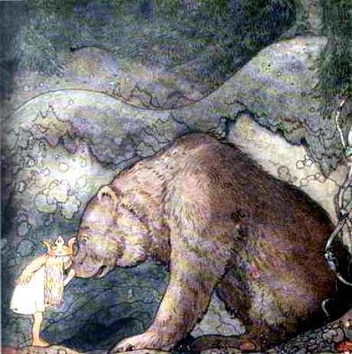 Здоровенный медведь остановился поодаль и смотрел на девочку маленькими хитрыми глазками