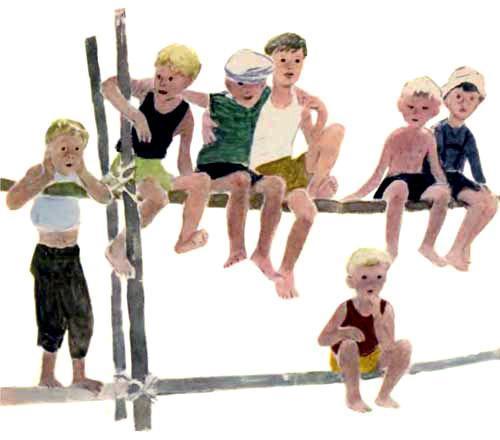 детвора пацаны сидят на заборе