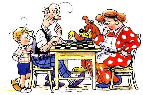 Пиф и семья играют в шашки