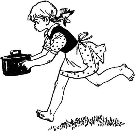 девочка бежит с кастрюлькой