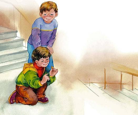 мальчишки на лестничной площадке
