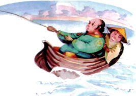 пастух и богач с удочкой ловят рыбу