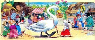 мышь ведет лебедя на поводке