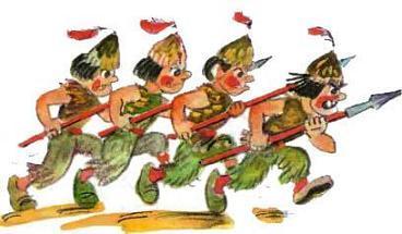Марраны с копьями идут строем на бой