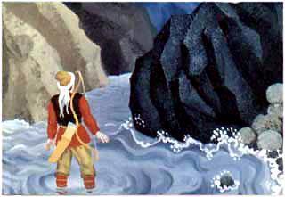 Охотник Харибу увидел черную скалу