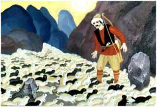 Охотник Харибу на него с горы, как поток, обрушились черные и белые суслики. С ног сбивают, бегут, бегут.
