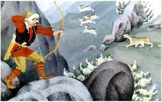 Охотник Харибу стреляет из лука