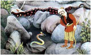 Подползла змейка к своему спасителю Охотнику Харибу
