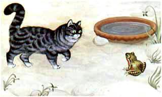 Скачет лягушка по двору, навстречу ей кот идет