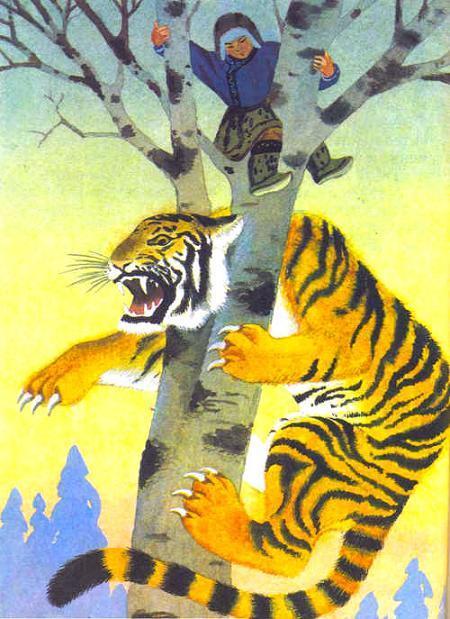 тигр залез на дерево за мальчиком и застрял между веток