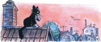 черный кот на крыше дома у трубы