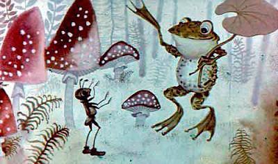 мураей и лягушка с зонтиком