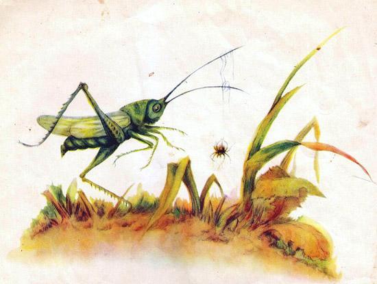 это не травинка, а длинный ус зелёного кузнечика-скачка