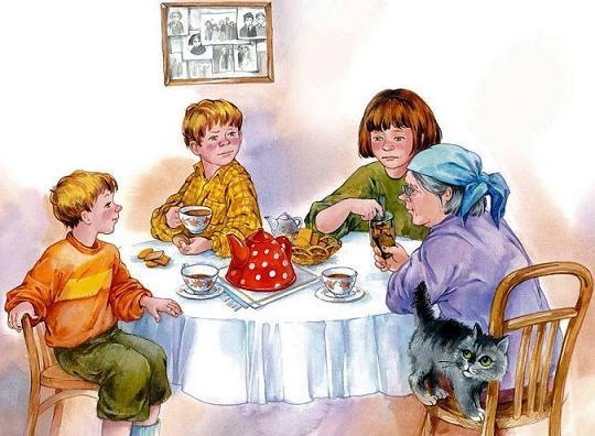 семья за столом пьют чай