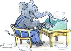 слоненок печатает на печатной машинке